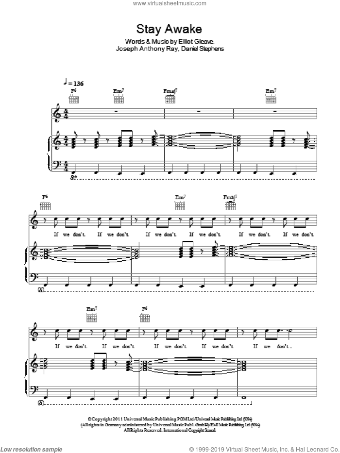Stay Awake sheet music for voice, piano or guitar by Joseph Ray and Elliot Gleave. Score Image Preview.