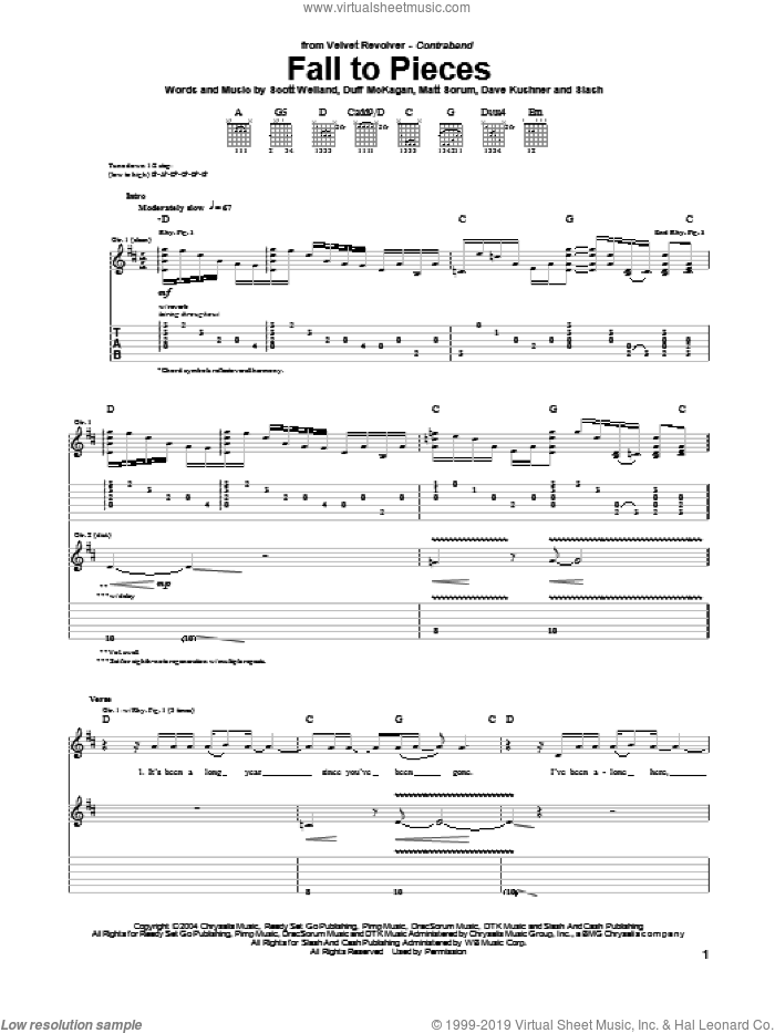 Fall To Pieces sheet music for guitar (tablature) by Slash