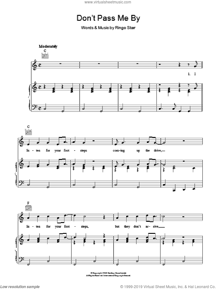 Don't Pass Me By sheet music for voice, piano or guitar by The Beatles and Ringo Starr, intermediate skill level