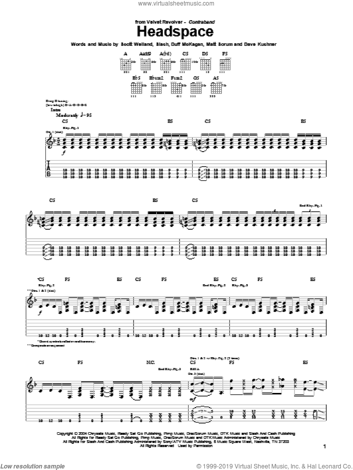 Headspace sheet music for guitar (tablature) by Velvet Revolver, Duff McKagan and Slash. Score Image Preview.