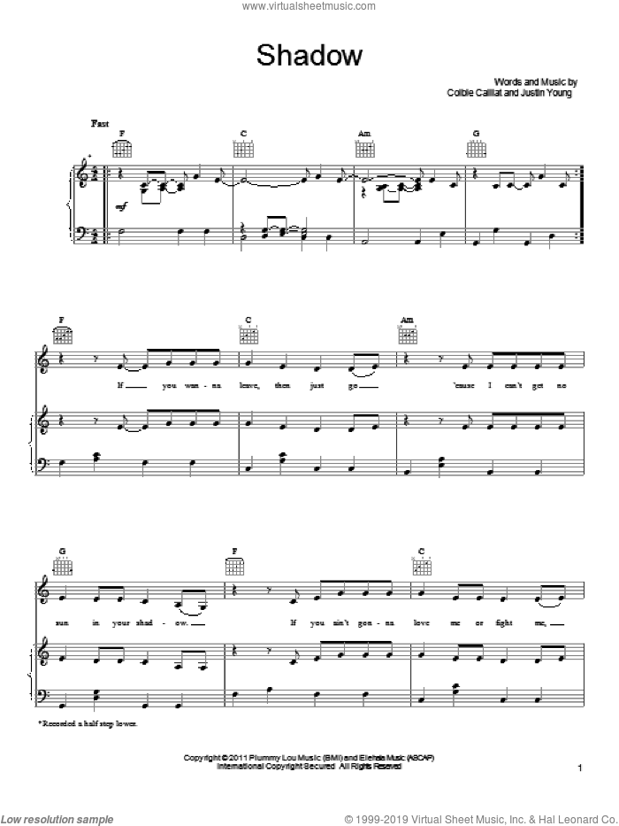 Shadow sheet music for voice, piano or guitar by Colbie Caillat and Justin Young, intermediate. Score Image Preview.