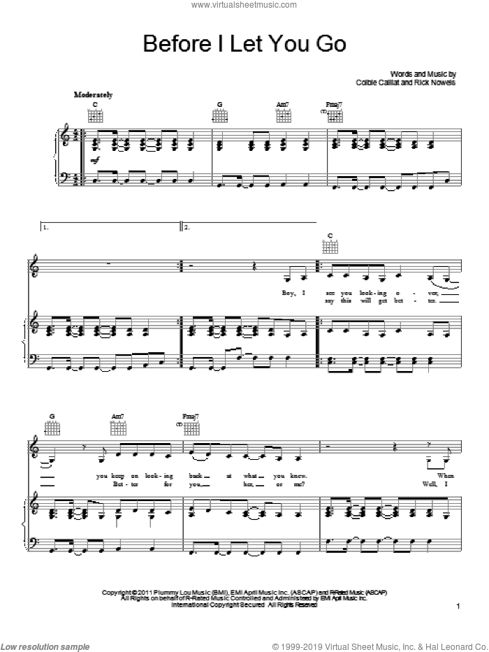 Before I Let You Go sheet music for voice, piano or guitar by Colbie Caillat and Rick Nowels, intermediate skill level