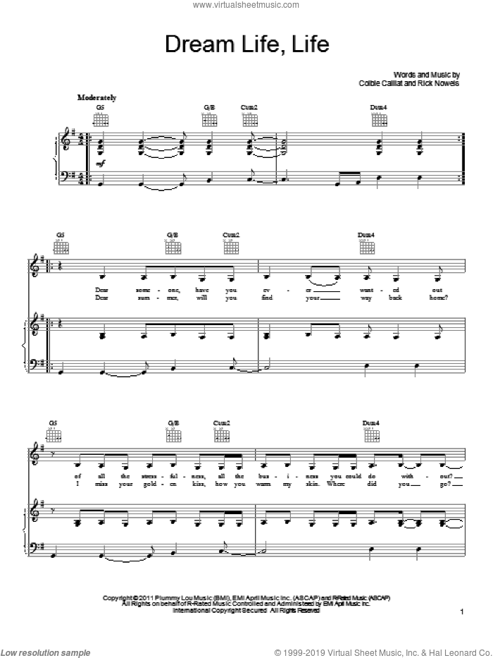 Dream Life Life sheet music for voice, piano or guitar by Colbie Caillat and Rick Nowels, intermediate skill level