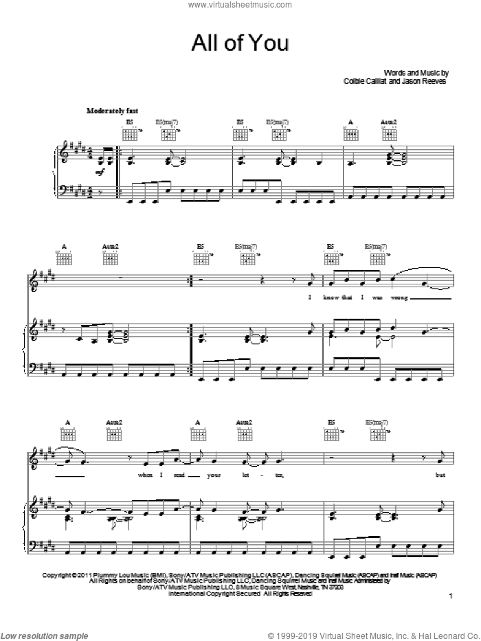 All Of You sheet music for voice, piano or guitar by Colbie Caillat and Jason Reeves. Score Image Preview.