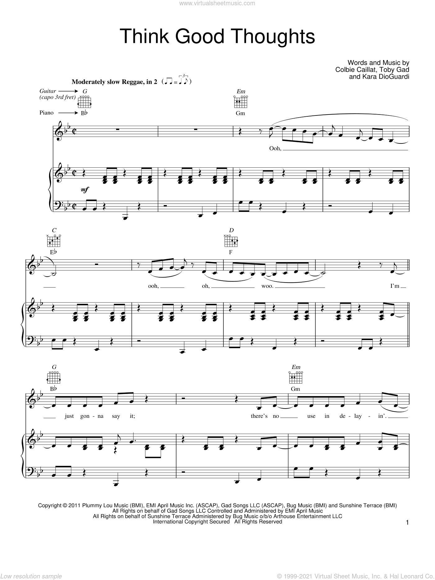 Think Good Thoughts sheet music for voice, piano or guitar by Toby Gad, Colbie Caillat and Kara DioGuardi. Score Image Preview.