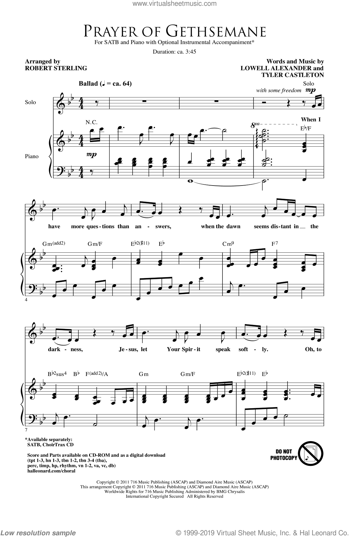 Prayer Of Gethsemane sheet music for choir (SATB: soprano, alto, tenor, bass) by Lowell Alexander, Tyler Castleton and Robert Sterling, intermediate skill level