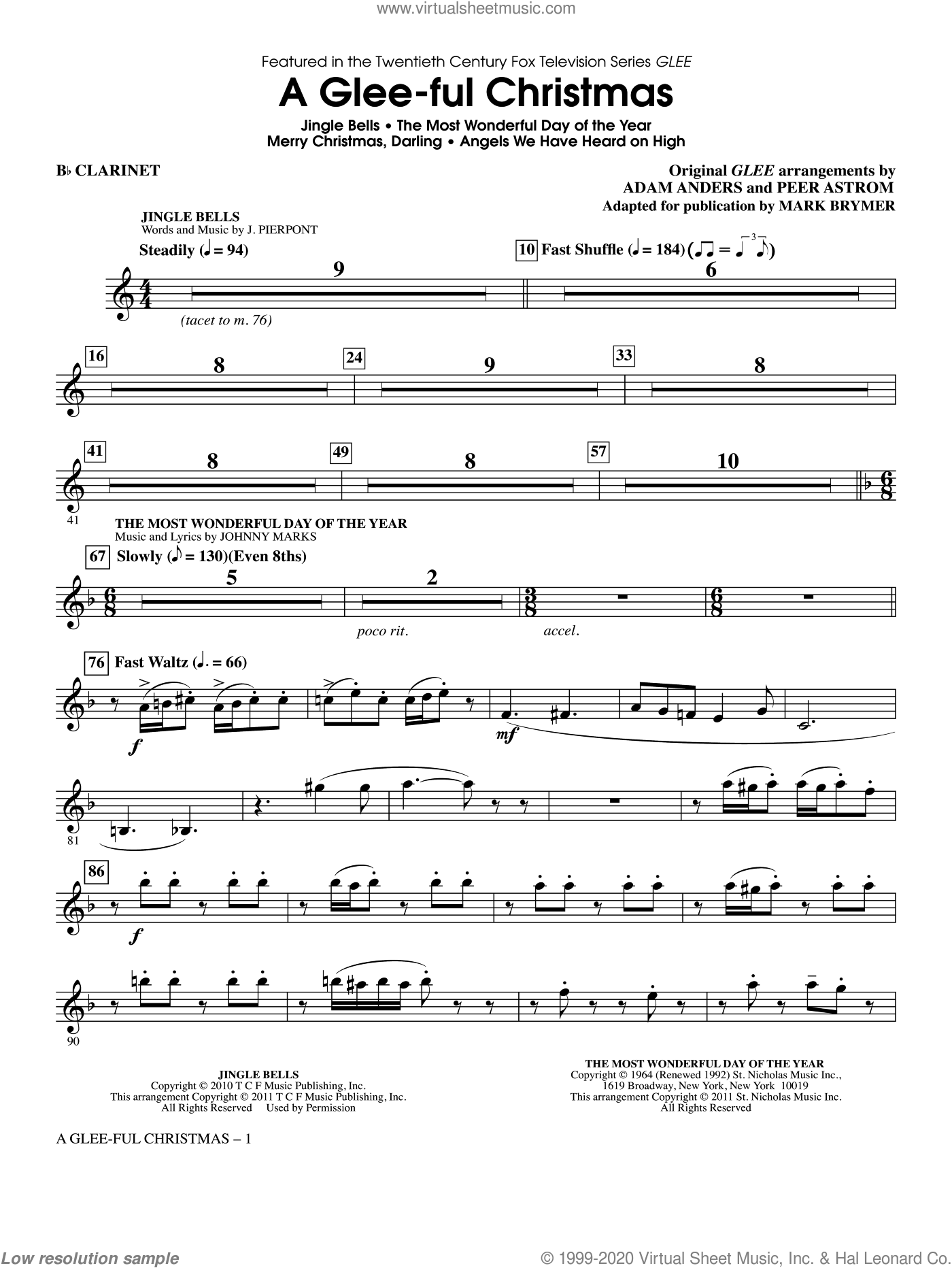 A Glee-ful Christmas (Choral Medley)(arr. Mark Brymer) sheet music for orchestra/band (Bb clarinet) by Mark Brymer, Adam Anders, Glee Cast, James Chadwick, Miscellaneous and Peer Astrom, intermediate skill level