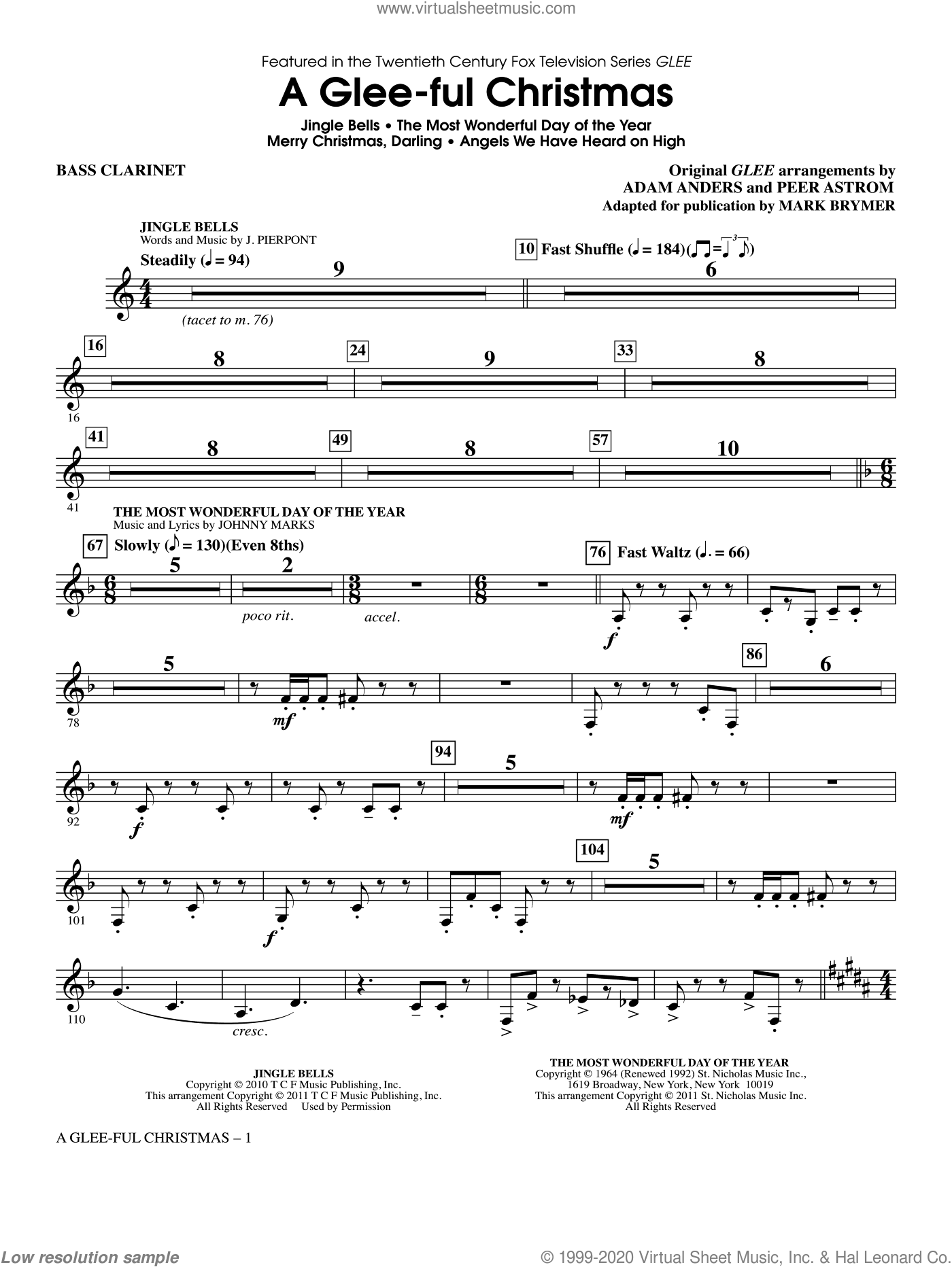 A Glee-ful Christmas (Choral Medley)(arr. Mark Brymer) sheet music for orchestra/band (Bb bass clarinet) by Mark Brymer, Adam Anders, Glee Cast, James Chadwick, Miscellaneous and Peer Astrom, intermediate skill level
