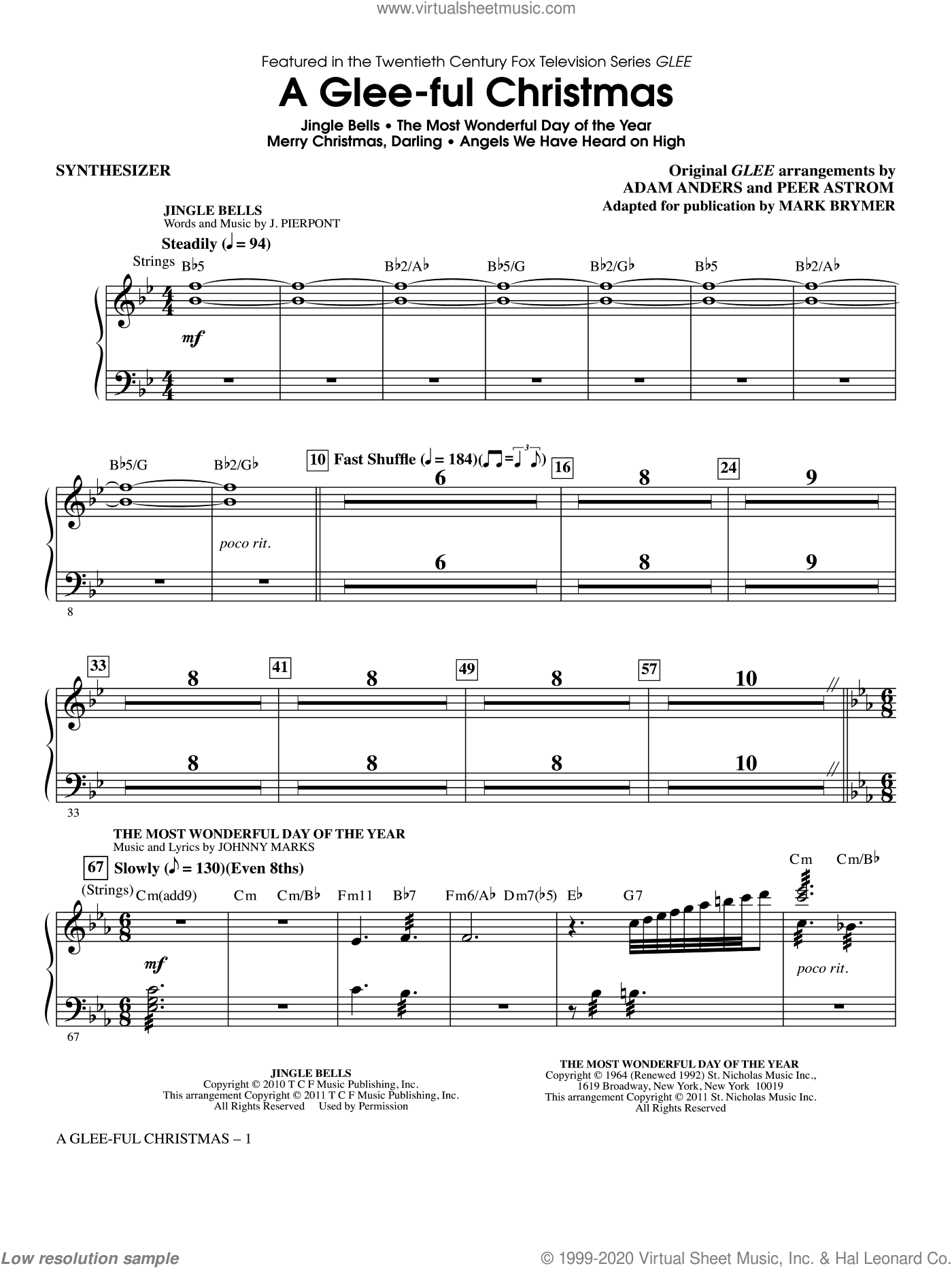 A Glee-ful Christmas (Choral Medley)(arr. Mark Brymer) sheet music for orchestra/band (synthesizer) by Mark Brymer, Adam Anders, Glee Cast, James Chadwick, Miscellaneous and Peer Astrom, intermediate skill level