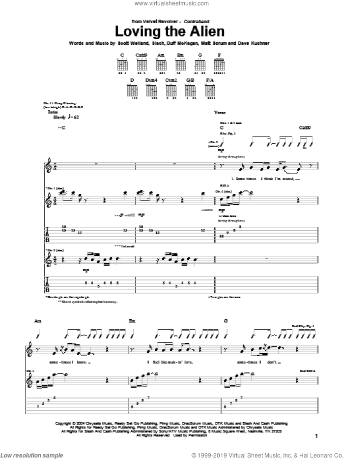 Loving The Alien sheet music for guitar (tablature) by Slash