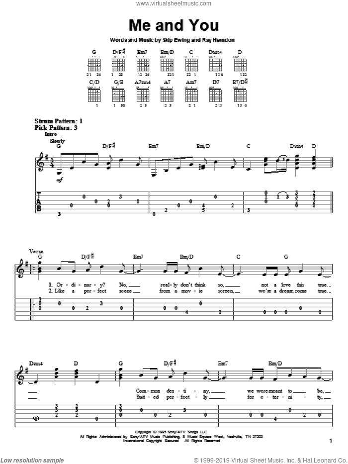 Me And You sheet music for guitar solo (easy tablature) by Kenny Chesney, Ray Herndon and Skip Ewing, wedding score, easy guitar (easy tablature)