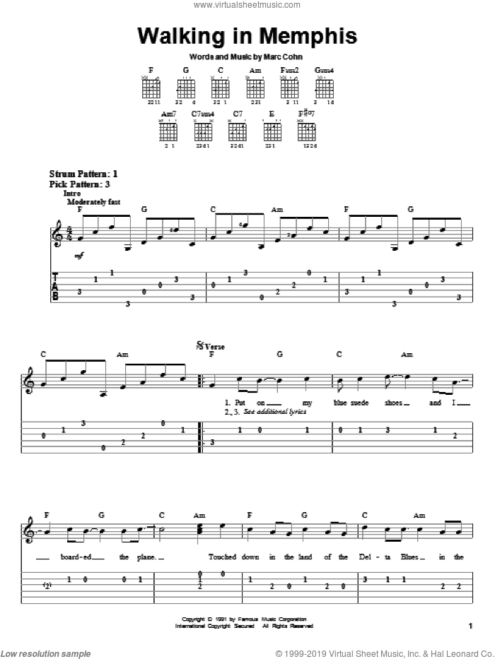Walking In Memphis sheet music for guitar solo (easy tablature) by Lonestar and Marc Cohn, easy guitar (easy tablature)