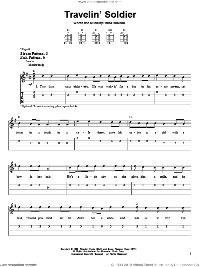 Travelin' Soldier sheet music for guitar solo (easy tablature) by Dixie Chicks and Bruce Robison, easy guitar (easy tablature)