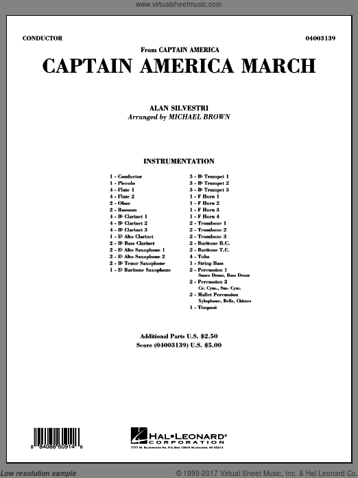 Captain America March (COMPLETE) sheet music for concert band by Alan Silvestri