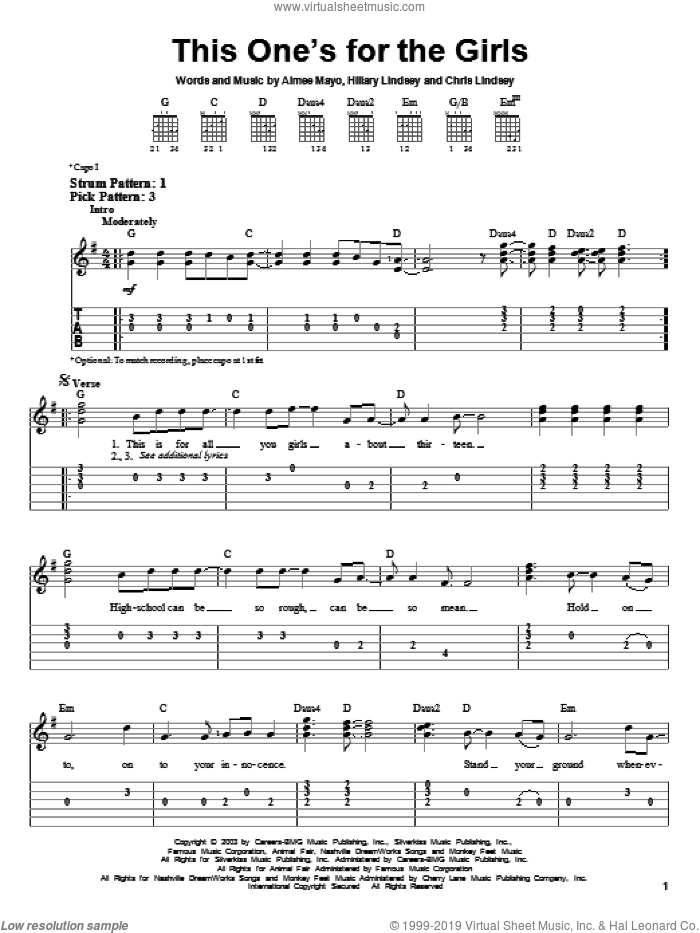 This One's For The Girls sheet music for guitar solo (easy tablature) by Martina McBride, Aimee Mayo, Chris Lindsey and Hillary Lindsey, easy guitar (easy tablature)