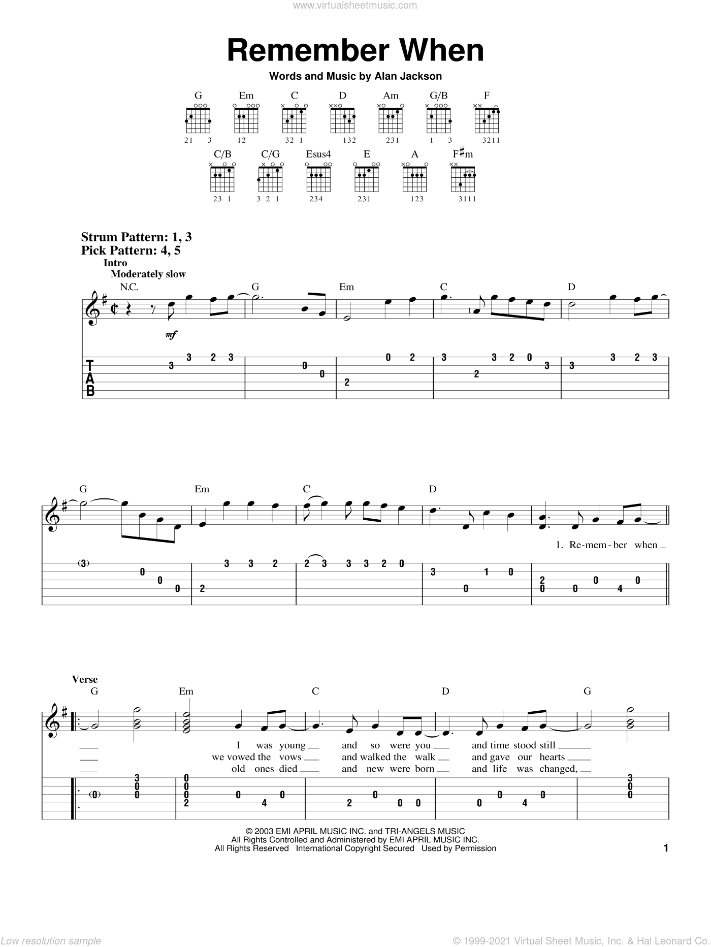 Remember When sheet music for guitar solo (easy tablature) by Alan Jackson. Score Image Preview.