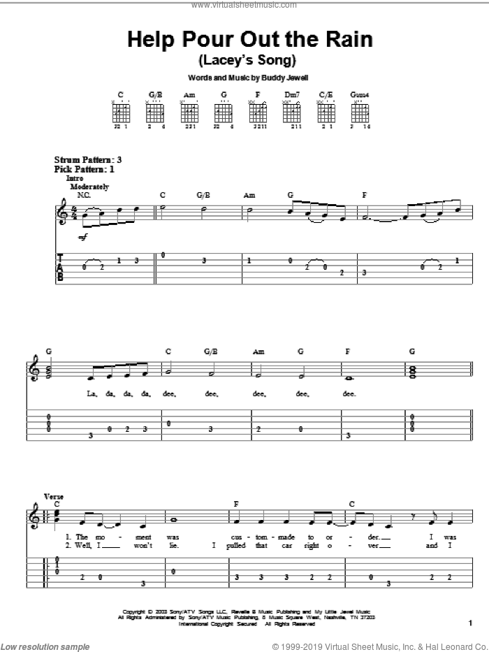 Help Pour Out The Rain (Lacey's Song) sheet music for guitar solo (easy tablature) by Buddy Jewell, easy guitar (easy tablature). Score Image Preview.