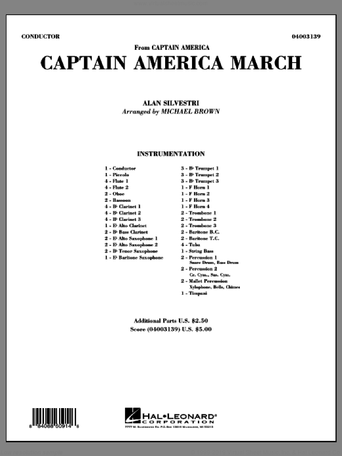 Captain America March (COMPLETE) sheet music for concert band by Michael Brown and Alan Silvestri, intermediate skill level
