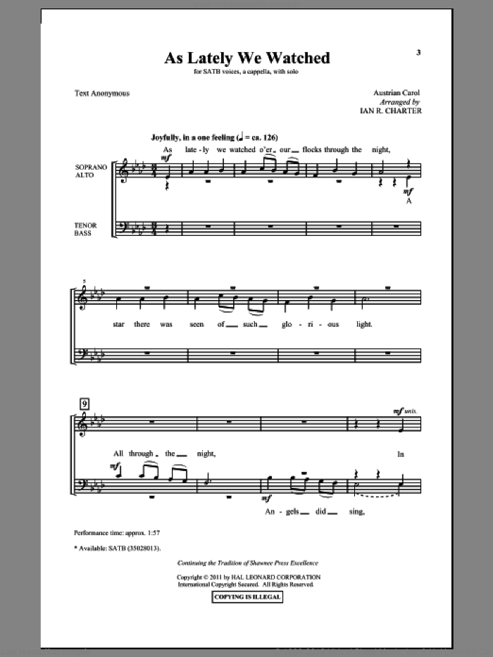 As Lately We Watched sheet music for choir (SATB) by Ian R. Charter, intermediate choir (SATB). Score Image Preview.