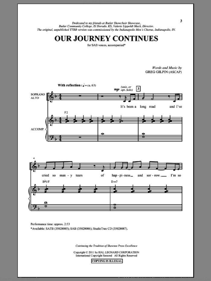 Our Journey Continues sheet music for choir (SAB) by Greg Gilpin. Score Image Preview.