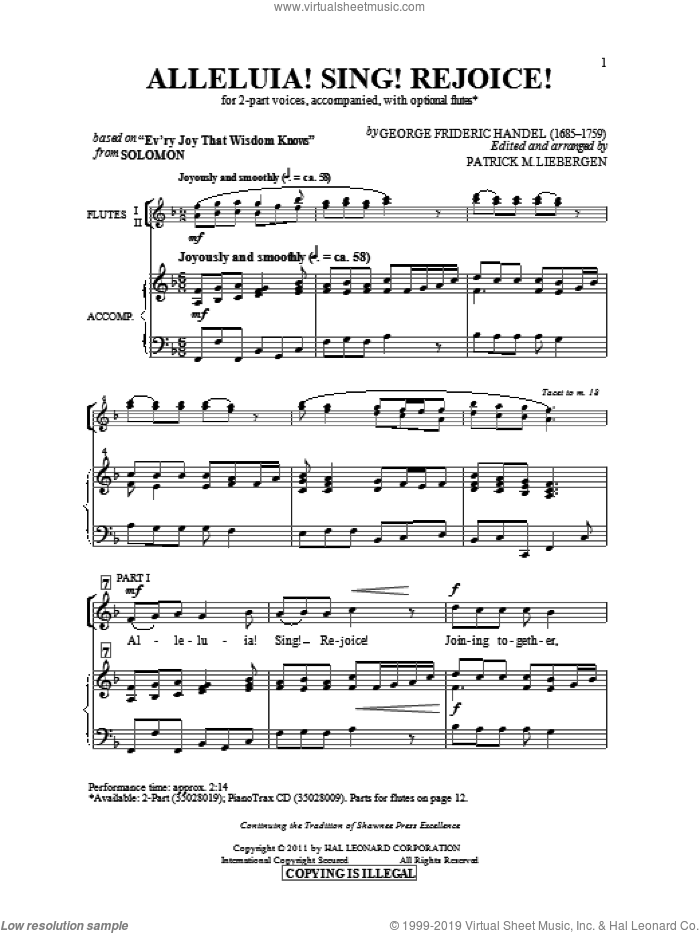 Alleluia! Sing! Rejoice! sheet music for choir (duets) by George Frideric Handel and Patrick Liebergen. Score Image Preview.