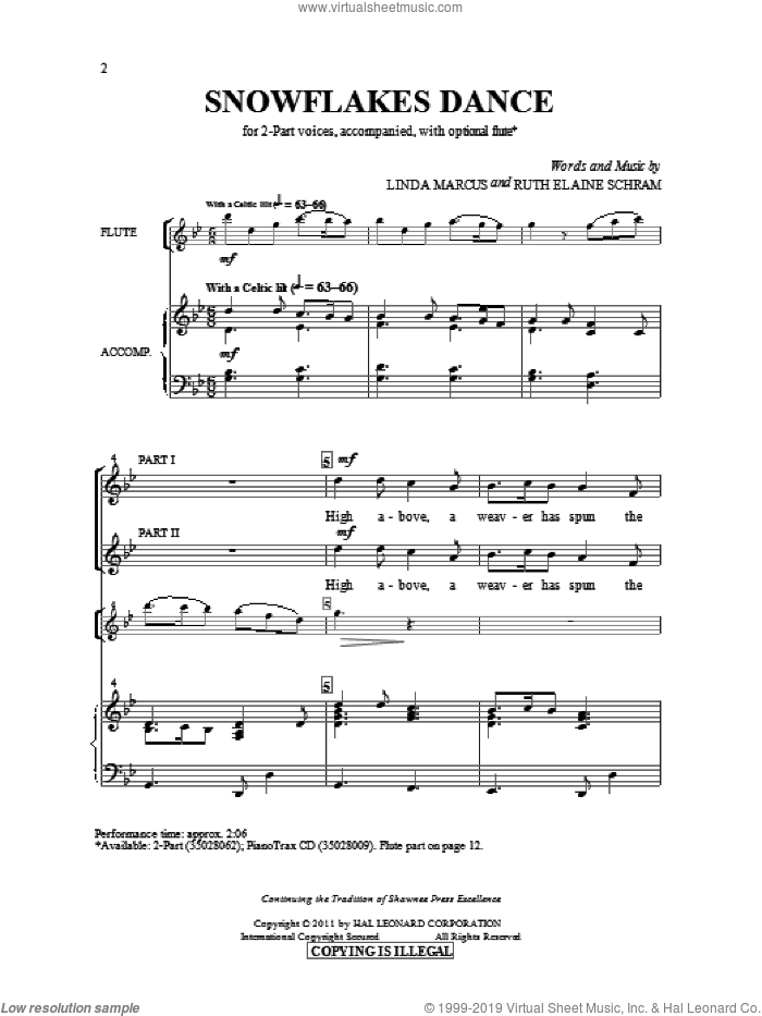 Snowflakes Dance sheet music for choir (2-Part) by Linda Marcus and Ruth Elaine Schram, intermediate duet