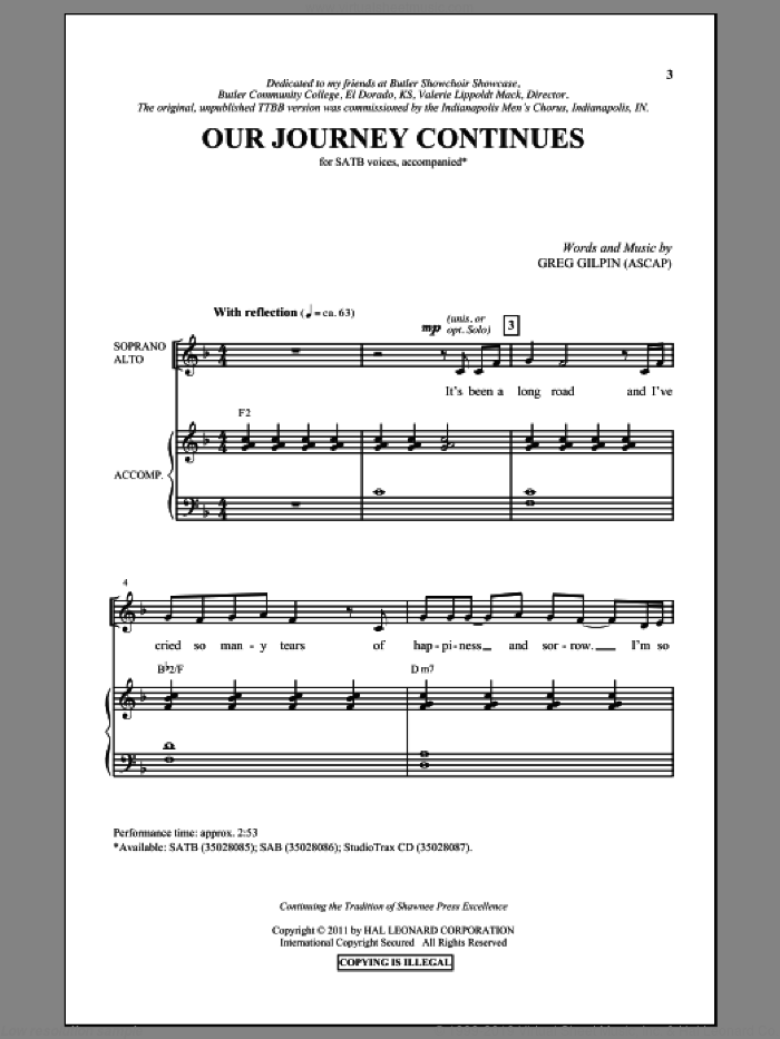 Our Journey Continues sheet music for choir and piano (SATB) by Greg Gilpin. Score Image Preview.