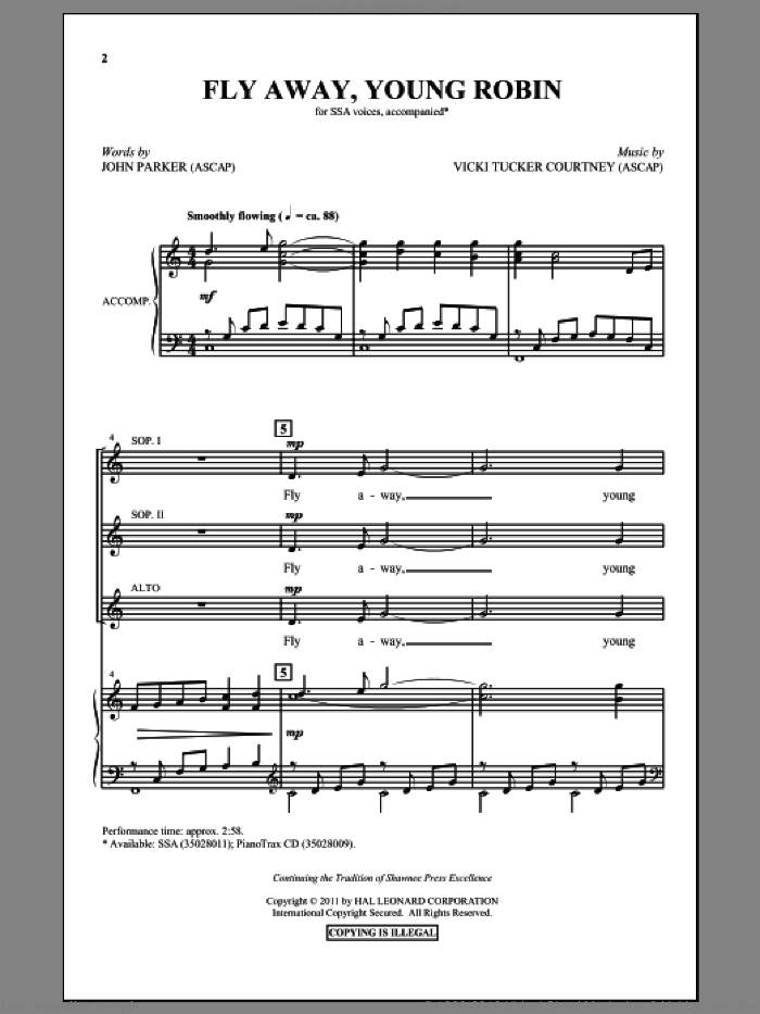 Fly Away, Young Robin sheet music for choir and piano (SSA) by John Parker and Vicki Tucker Courtney. Score Image Preview.