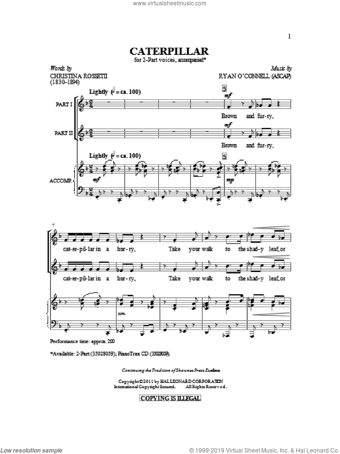 Caterpillar sheet music for choir and piano (duets) by Ryan O'Connell and Christina Rossetti. Score Image Preview.