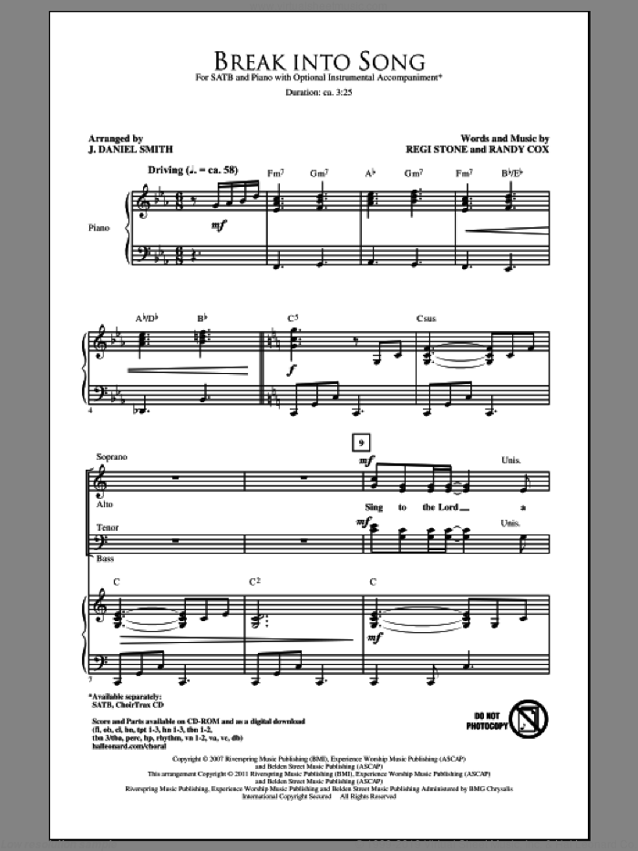 Break Into Song sheet music for choir (SATB) by Randy Cox, J. Daniel Smith and Regi Stone