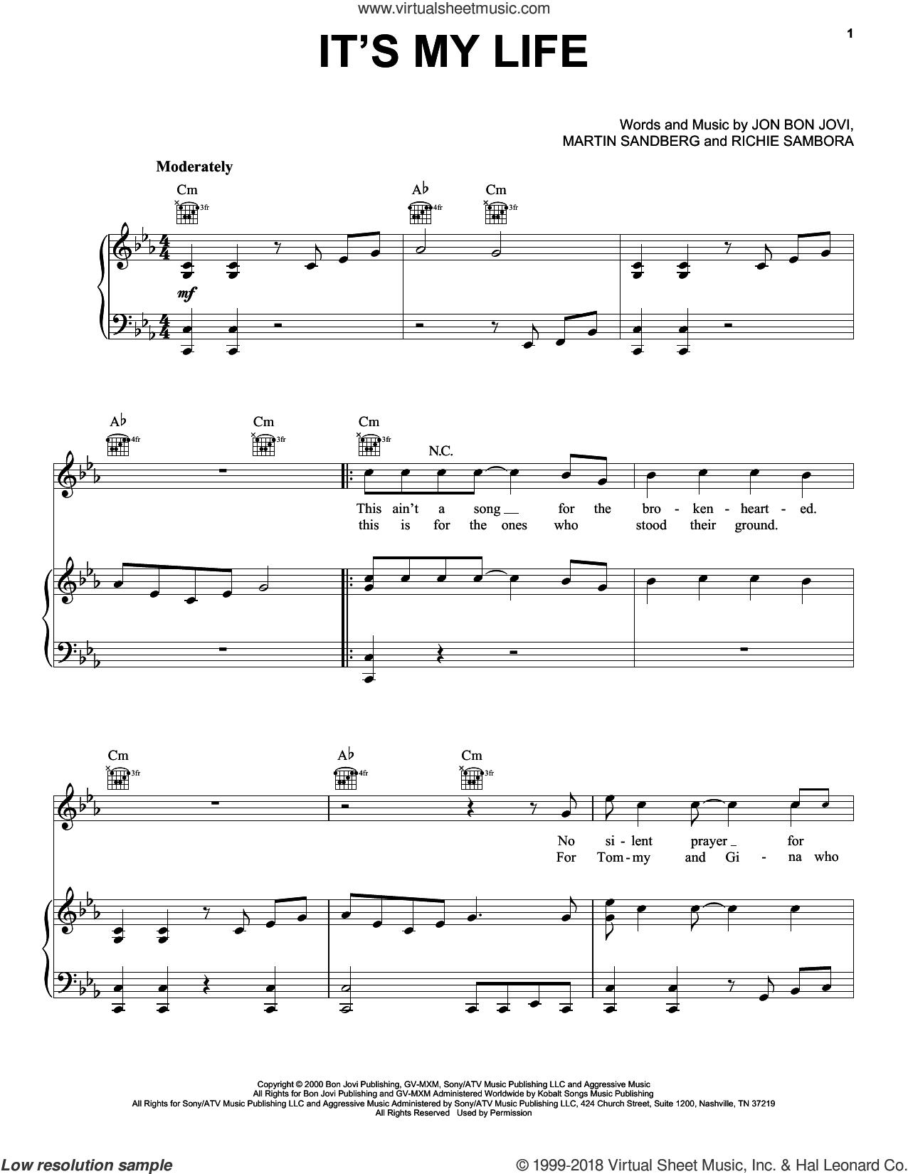 It's My Life sheet music for voice, piano or guitar by Bon Jovi, Miscellaneous, Martin Sandberg and Richie Sambora, intermediate skill level