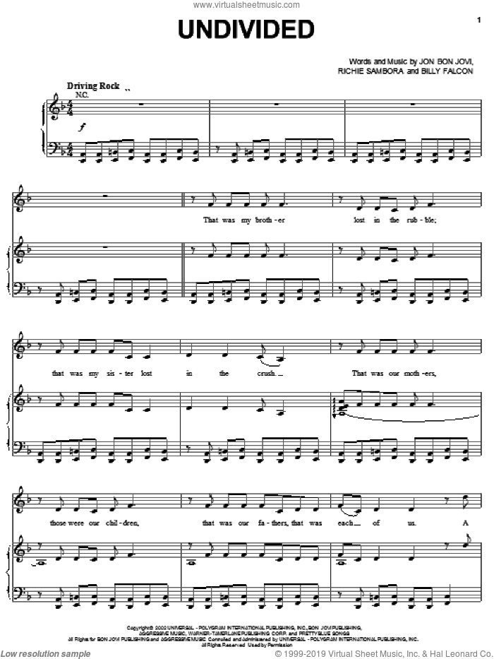 Undivided sheet music for voice, piano or guitar by Bon Jovi, Billy Falcon and Richie Sambora, intermediate skill level