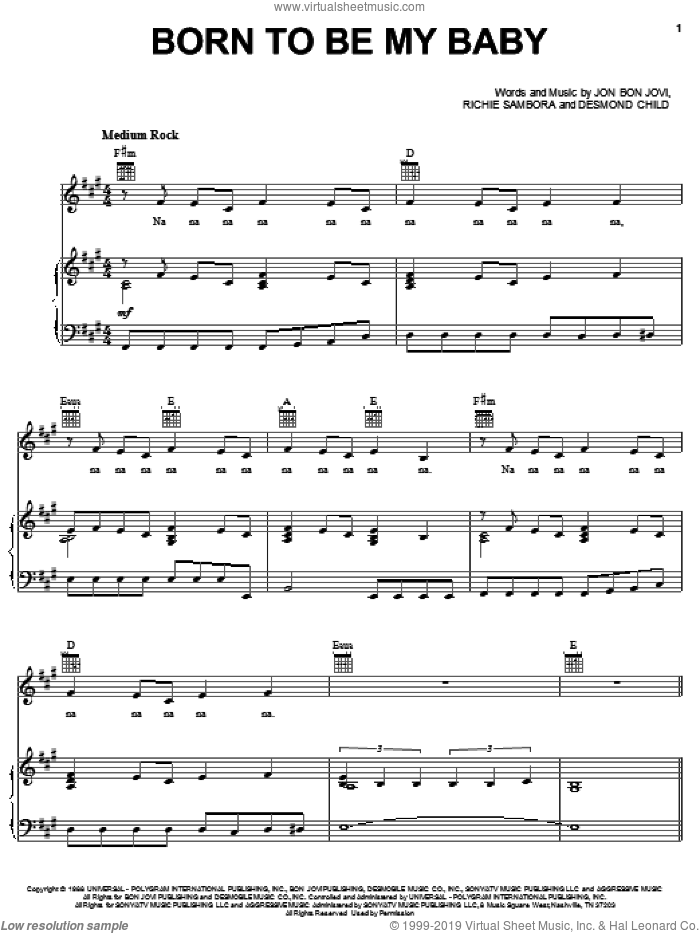 Born To Be My Baby sheet music for voice, piano or guitar by Bon Jovi, Desmond Child and Richie Sambora, intermediate skill level