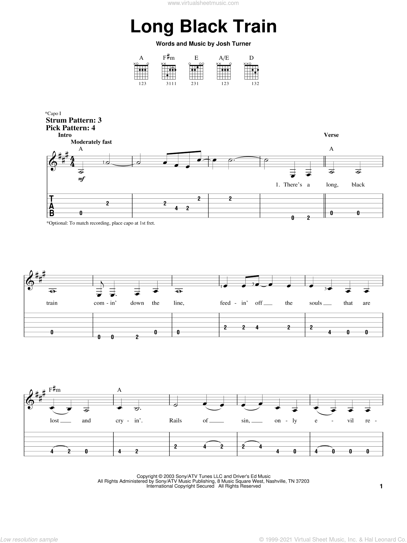 Long Black Train sheet music for guitar solo (easy tablature) by Josh Turner. Score Image Preview.