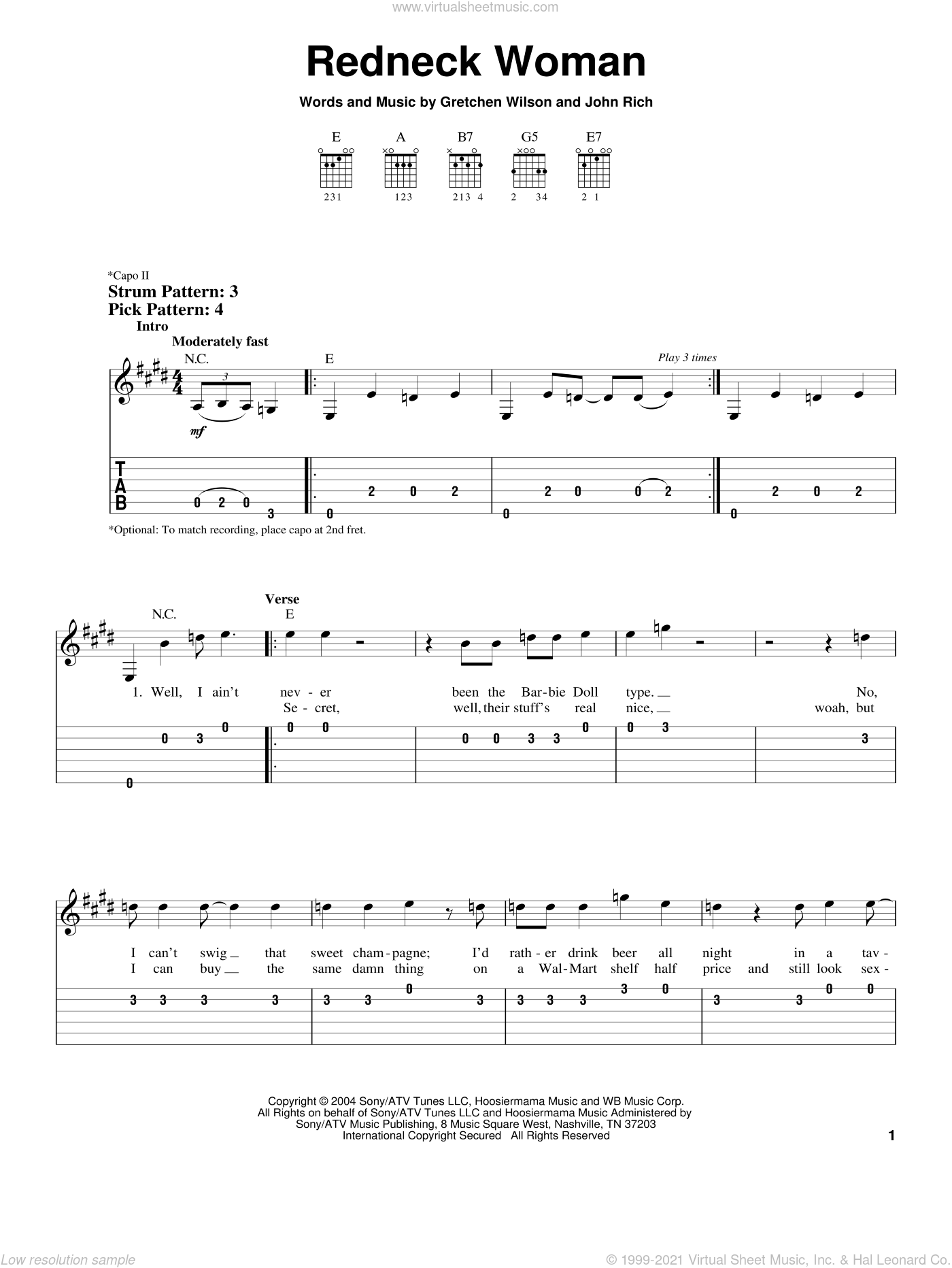 Redneck Woman sheet music for guitar solo (easy tablature) by Gretchen Wilson and John Rich, easy guitar (easy tablature)