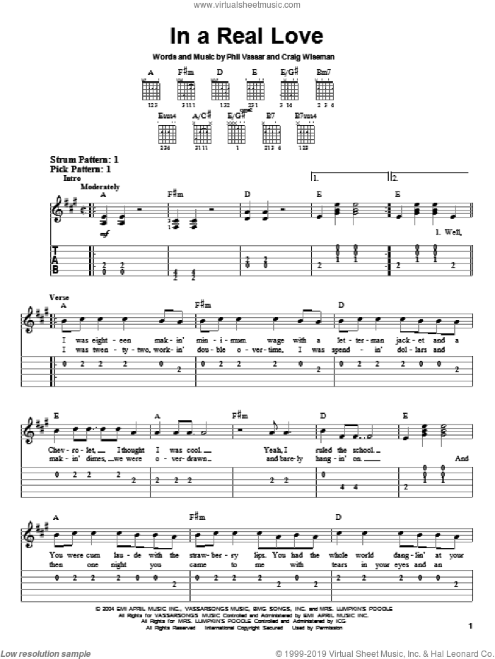 In A Real Love sheet music for guitar solo (easy tablature) by Craig Wiseman
