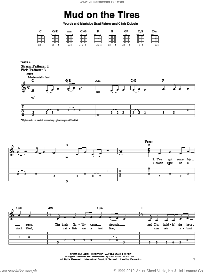Mud On The Tires sheet music for guitar solo (easy tablature) by Brad Paisley and Chris DuBois, easy guitar (easy tablature)