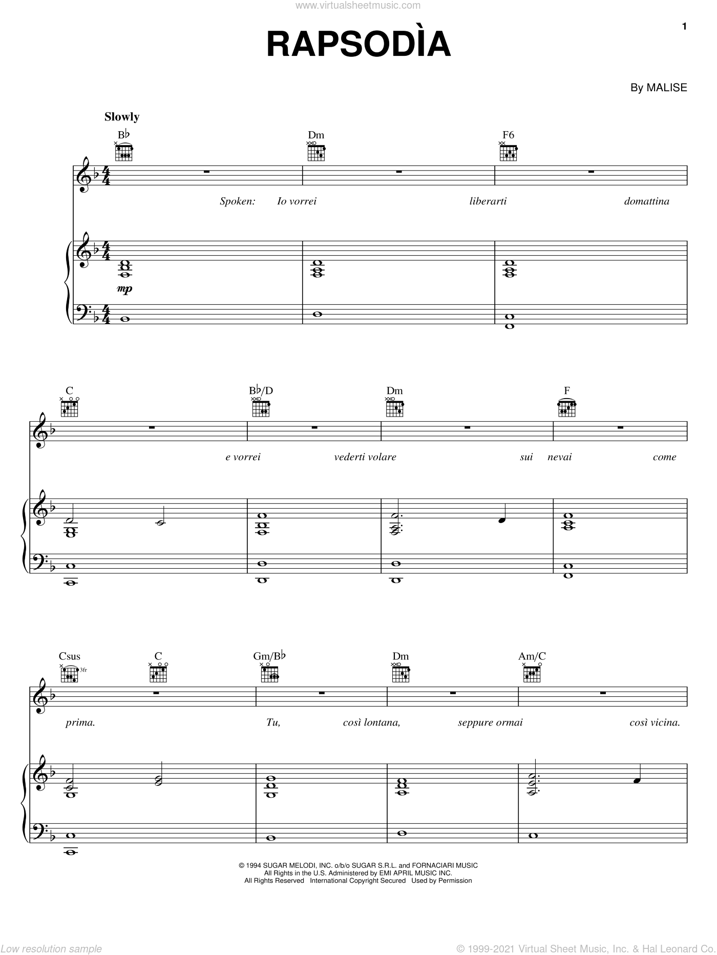 Rapsodia sheet music for voice, piano or guitar by Andrea Bocelli and Malise, classical score, intermediate skill level