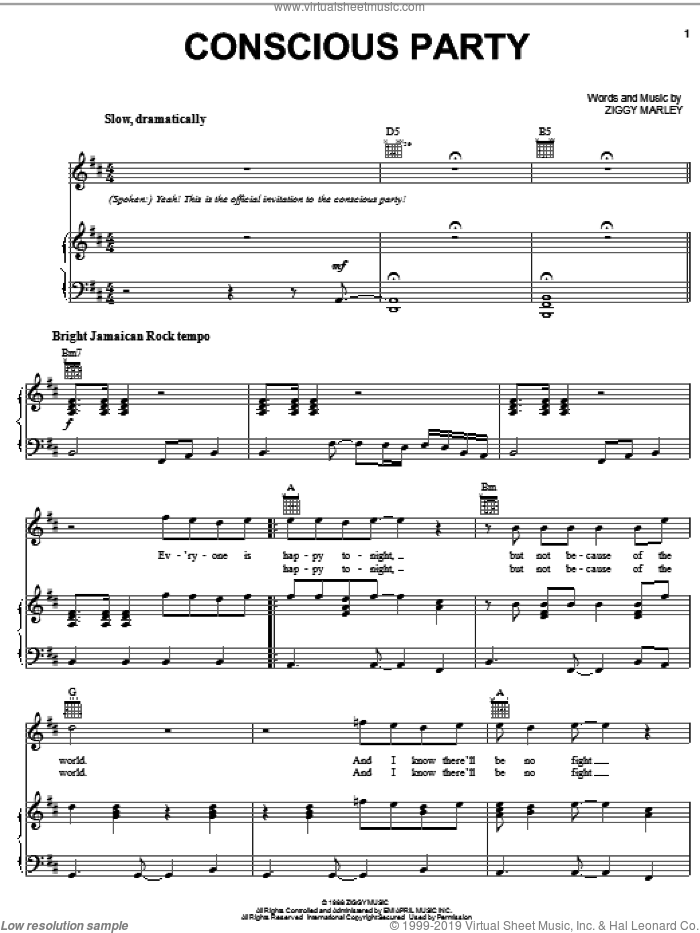Conscious Party sheet music for voice, piano or guitar by Ziggy Marley. Score Image Preview.