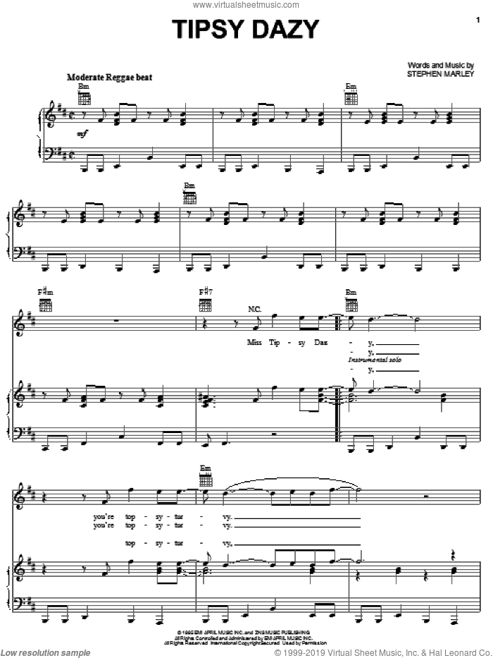 Tipsy Dazy sheet music for voice, piano or guitar by Ziggy Marley and Stephen Marley, intermediate skill level