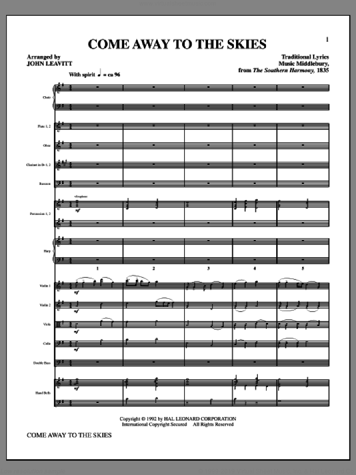 Come Away To The Skies (complete set of parts) sheet music for orchestra/band (Orchestra) by John Leavitt, intermediate. Score Image Preview.