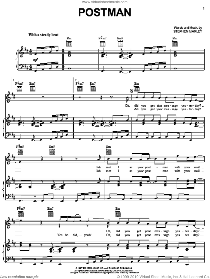 Postman sheet music for voice, piano or guitar by Ziggy Marley and Stephen Marley, intermediate skill level