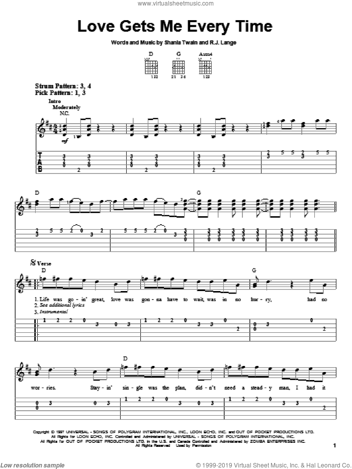 Love Gets Me Every Time sheet music for guitar solo (easy tablature) by Shania Twain and Robert John Lange. Score Image Preview.