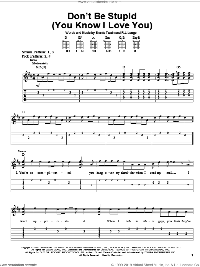 Don't Be Stupid (You Know I Love You) sheet music for guitar solo (easy tablature) by Shania Twain and Robert John Lange, easy guitar (easy tablature)