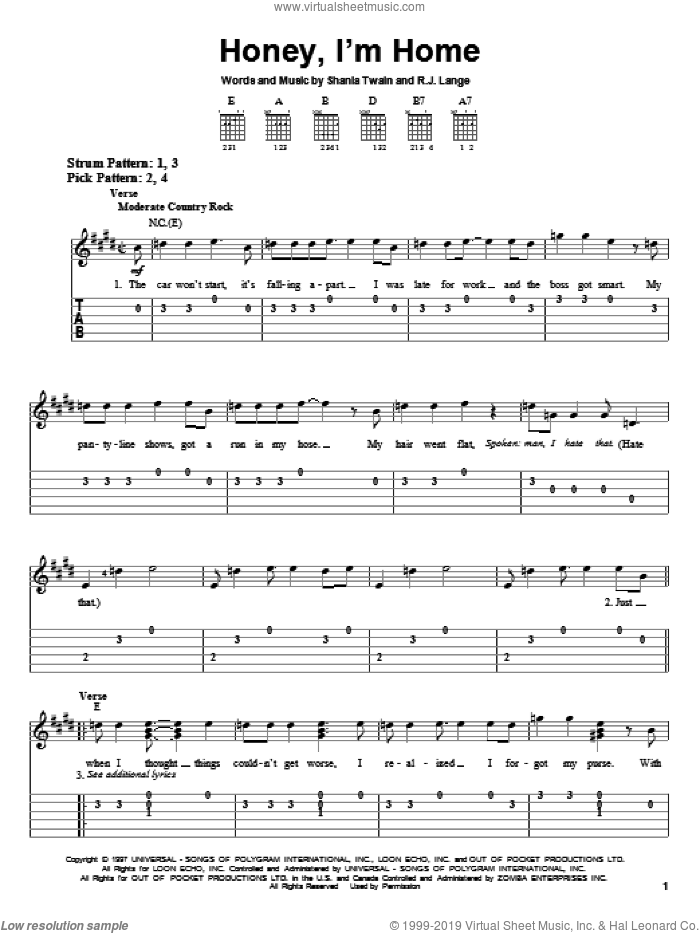 Honey, I'm Home sheet music for guitar solo (easy tablature) by Shania Twain and Robert John Lange, easy guitar (easy tablature)