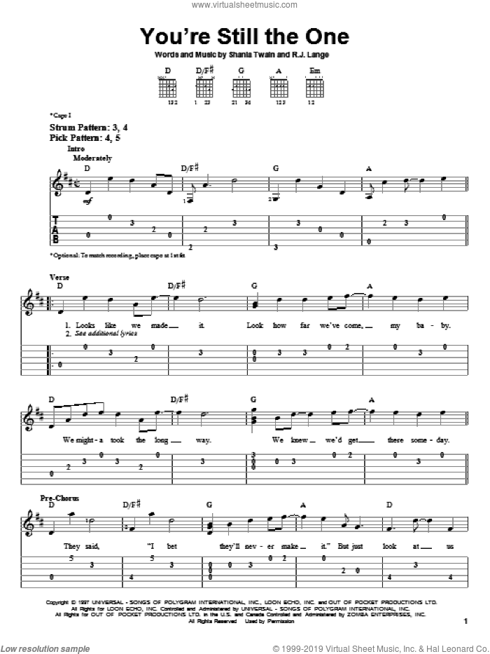 You're Still The One sheet music for guitar solo (easy tablature) by Shania Twain and Robert John Lange, wedding score, easy guitar (easy tablature)