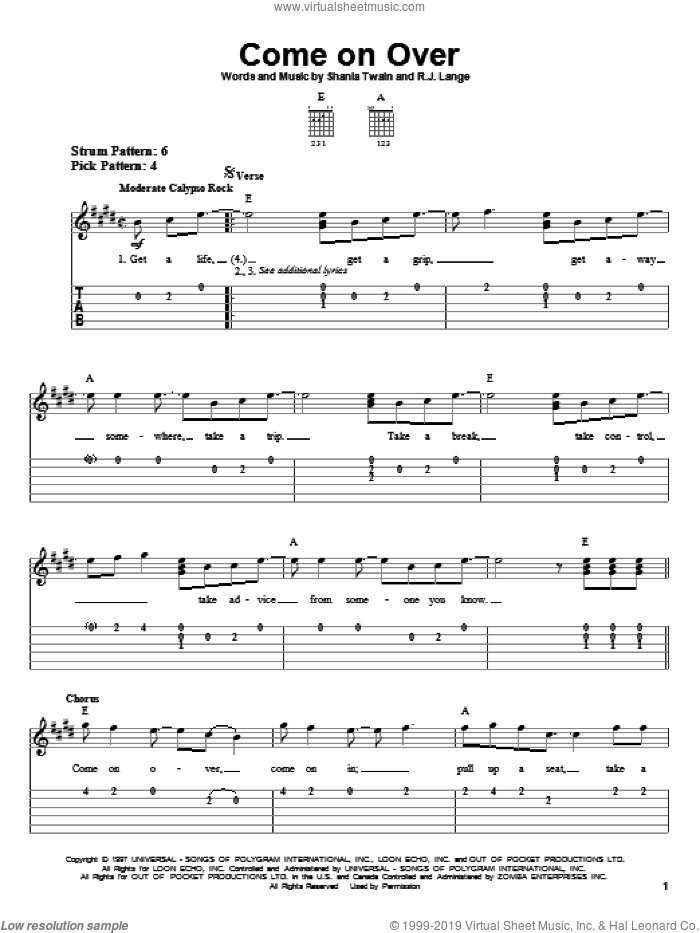 Come On Over sheet music for guitar solo (easy tablature) by Shania Twain and Robert John Lange, easy guitar (easy tablature)