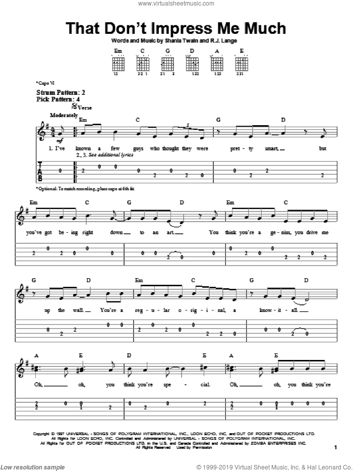 That Don't Impress Me Much sheet music for guitar solo (easy tablature) by Robert John Lange and Shania Twain. Score Image Preview.
