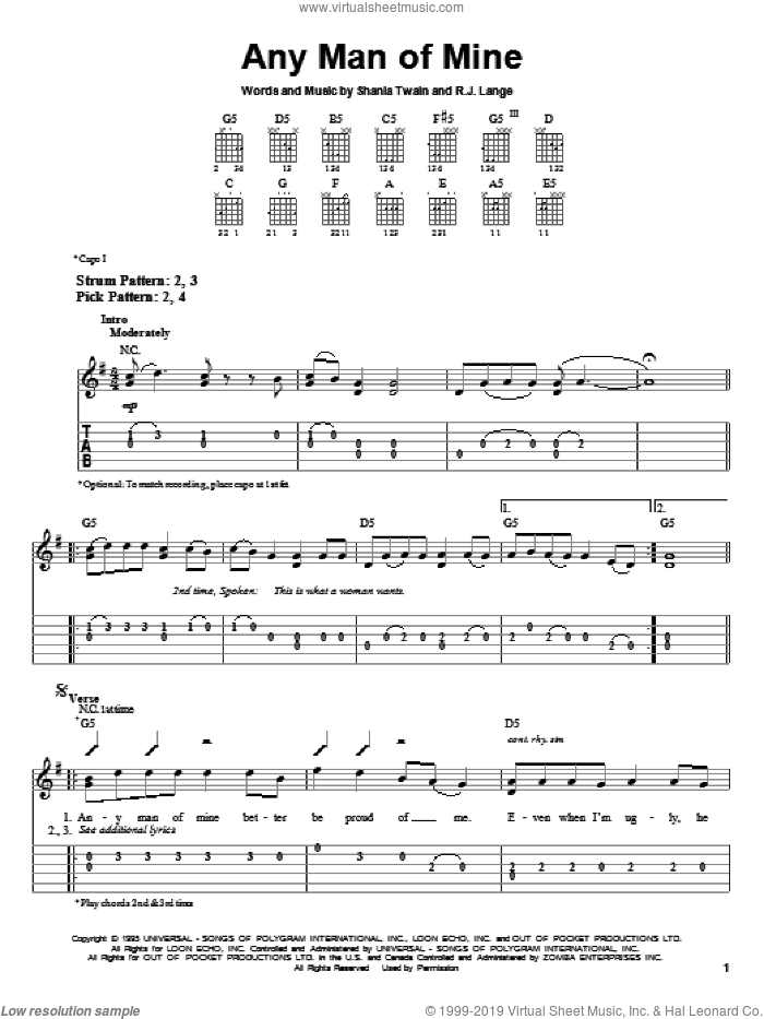 Any Man Of Mine sheet music for guitar solo (easy tablature) by Shania Twain and Robert John Lange, easy guitar (easy tablature). Score Image Preview.