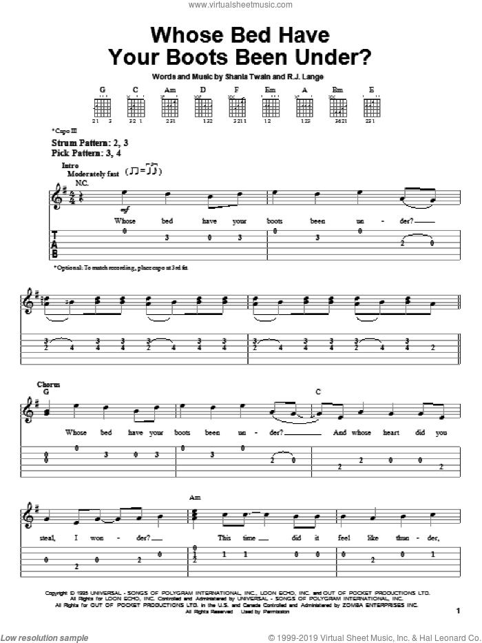 Whose Bed Have Your Boots Been Under? sheet music for guitar solo (easy tablature) by Robert John Lange and Shania Twain. Score Image Preview.